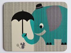 Broodplankje Meneer olifant / Planche à tartiner Monsieur éléphant / Placemat Eager elephant