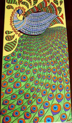Title of the Art: Dancing Peacock Style : Indian Traditional Art Form called Madhubani Painting. Size: 12″ X 24″ Medium: Professional grade acrylics on hand-stretched canvas over wooden bars (stapl...