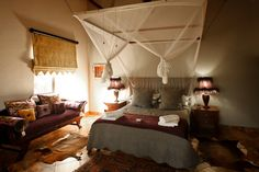 Main Bedroom: - En-suite, with an extra length Queen sized Bed. - Double size sleeper couch - Verandah in front of the room overlooking the Swimming Pool & Waterhole @ Eden Safari Country House Sleeper Couch, Queen Size Bedding, Wild Life, My House, Safari, Swimming Pools, Country, Bedroom, Furniture
