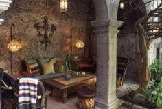 Jardines Mexicanos/Mexican Gardens - All photos © Melba Levick Outdoor Seating, Outdoor Spaces, Mexican Garden, Backyard Patio, Backyard Ideas, Porch And Balcony, Mexican Home Decor, Mexican Style, The Good Place