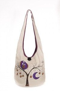 Mauve owls shoulder bag fantasy handpainting funny by LaMuseChic