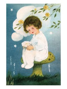 Illustration of Girl Sitting on Mushroom by Margaret Evans Price reproduction procédé giclée