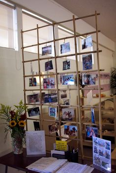 Reggio classroom with family photos at sign in