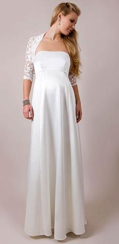 Floor Length White Satin Maternity Bridal Dress of Matching Lace or Satin Jacket on Sale Vestidos Vintage, Vintage Dresses, Ball Dresses, Bridal Dresses, Ball Gowns, Formal Dresses, Dresses For Pregnant Women, Pregnant Wedding Dress, Maternity Wedding