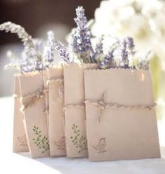 Lavender in take-home mini paper bags are a cute idea for wedding favors if you aren't able to get the viles. A Lowcountry Wedding - Charleston, Myrtle Beach & Hilton Head's Favorite Wedding Resource: Favors {Wedding Details} Purple Wedding, Our Wedding, Wedding Flowers, Dream Wedding, Wedding Lavender, Lavender Bags, Lavender Tea, Lavender Seeds, Lavender Cottage
