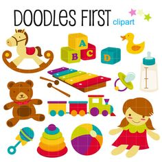 Baby Toys and Accesories Digital Clip Art for Scrapbooking Card Making Cupcake Toppers Paper Crafts