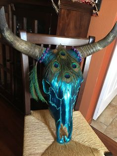By: Meghan Woolhether. Wanting to sell! Skull Decor Diy, Skull Crafts, Painted Animal Skulls, Deer Skull Art, Buffalo Skull, Antler Art, Bull Skulls, Skull Painting, Crane