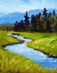 Miniature Landscape Oil Painting, Small 4x5 Prairie Meadow on Canvas Original, Wall Decor, Green, Blue, Trees, River
