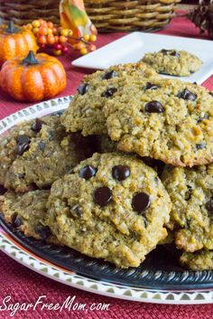 Gluten free pumpkin chocolate chip cookies (grain free, low carb) from Sugar Free Mom