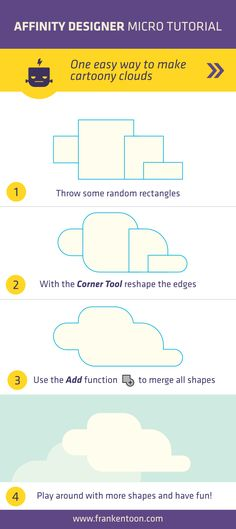 A very easy way to create clouds in Affinity Designer. Make sure to visit www.frankentoon.com to see more detailed Affinity Designer Tutorials.