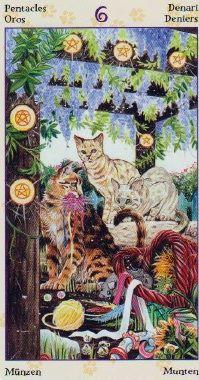 Six of Pentacles - Tarot of the Pagan Cats