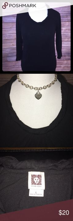 Anne Klein Black Rolled Neck Top Very unique and stylish! Black tee with rolled style neckline that can be dressed up or down nicely. Excellent condition, only worn a few times. Check out my other listings to bundle and save 25% 😎! Anne Klein Tops Tees - Long Sleeve