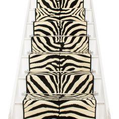 Best Zebra Print Stair Runner Carpet Stairs White Staircase 400 x 300