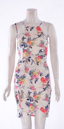 Wrap Over White High Necked Dress With Two Straps. Zip Bacck.  Colour: Tropical/Floral Printed  Material: 95% POLYESTER 5% ELASTANE  Length: Approx: 85 CM From Shoulder To Hem  Item Number: BW002  £25