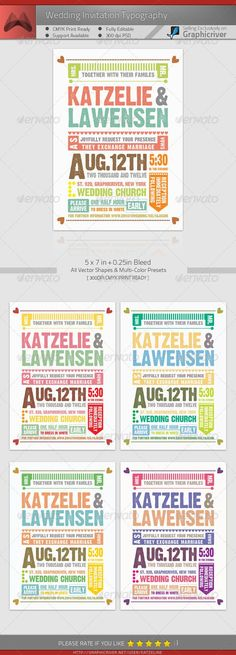 Wedding Invitation Typography — Photoshop PSD #invitation #save • Available here → https://graphicriver.net/item/wedding-invitation-typography/976783?ref=pxcr