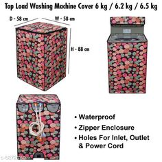 Appliance Covers Stylish Washing Machine Cover For Fully Automatic Top Load  6 kg , 6.2 kg , & 6.5 kg Material: PVC Pattern: Printed Pack: Pack of 1 Product Length: 24 cm Product Breadth: 30 cm Product Height: 3 cm Country of Origin: India Sizes Available: Free Size   Catalog Rating: ★4.3 (460)  Catalog Name: Latest Home Appliance Covers CatalogID_1097033 C131-SC1624 Code: 983-6872769-069