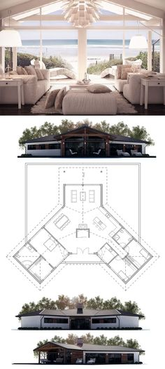 House Plan with open planning, three bedrooms. Floor plan from ConceptHome.com