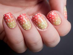 Peach and Nude Syrup Gradient with Polka Dots via @chalkboardnails