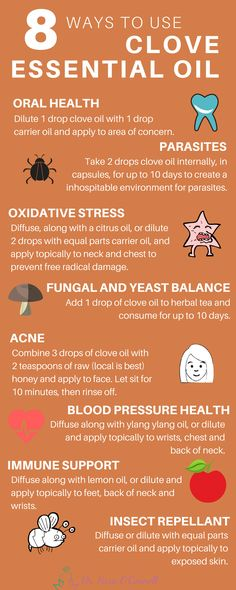 Clove essential oil has a long history of therapeutic benefits for oral health, as well as, acne, parasites, immune support, insect repellant and more! Repin to share with your loved ones and click the image for more natural remedies!