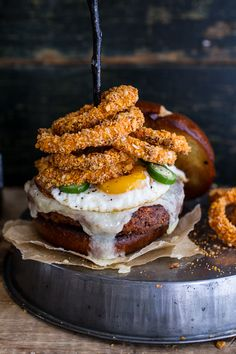 Sweet Potato Black Bean Chili Burgers w/Baked Cheddar Beer Onion Rings + Fried Egg | Half-Baked Harvest