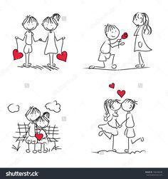 Cute Cartoon Couple Doodle Red Heart Stok Vektör (Telifsiz) 106446638 cute cartoon couple doodle with red heart shape Love Doodles, Doodles Bonitos, Cartoon Mignon, Stick Figure Drawing, Image Digital, Couple Cartoon, Couple Drawings, Stick Figures, Diy For Girls