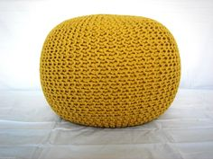 LARGE 60CM KNITTED POD POUFFE FOOT STOOL OTTOMAN CONTEMPORARY CUSHION FREE 24HR DELIVERY! (Ochre): Amazon.co.uk: Kitchen & Home