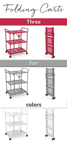 This rolling storage cart folds flat when not in use, and when in use, can function as a bookcase, kitchen cart, or bar cart.
