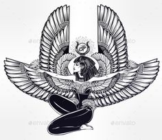 Egyptian Godess Isis with Outstratched Wings #tattoo
