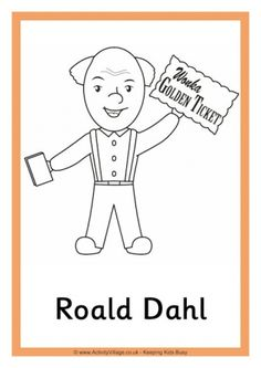 Roald Dahl Colouring Page