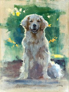"""Portrait of Summer, oil on canvas, 12""""x16"""" Private Collection A gift for our wonderful hosts at Easels In Frederick 2016. Summer is a one year old golden retriever who made us feel very welcome and became our very good friend. #petportrait #dogpainting #petpainting #dogportrait"""