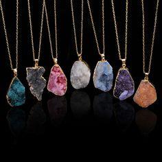 Natural Edelstein Anhänger Halsketten Schicke Irregular Kristallquarz Kette Neu in Uhren & Schmuck, Modeschmuck, Halsketten & Anhänger | eBay