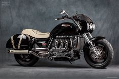 Triumph Rocket Phantom by Mr. Martini  Mr. Martini in his mental journey, dreaming of a Rolls on two wheels and living again a wonderful journey riding a Triumph Rocket III, he wanted to achieve the same sensations. So, why not make the Triumph Rocket even more like the most luxurious and stately car in the world?