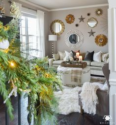 christmas living-room with sunburst mirror gallery wall