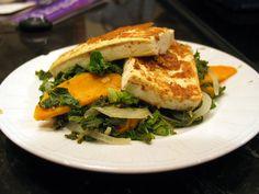 Mustard crusted tofu with kale and sweet potato