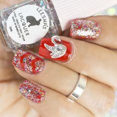 red, glitter, glitter topper, nailcharm, mani, nails
