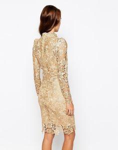 Champagne Long Sleeve Crochet Lace Dress