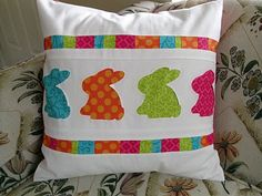 Bright, beautiful, crafty and thrifty rabbit pillow for Spring/ Easter.