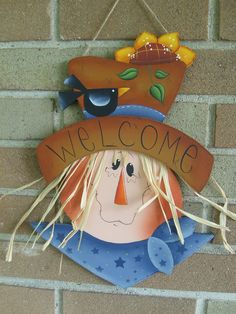 Hand Painted Wood Scarecrow Sign, Autumn, Fall and Thanksgiving Craft