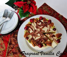 Raw Eggnog Cheesecake with Chocolate Swirl and Gingerbread Crust | Fragrant Vanilla Cake