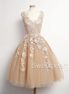 vintage champagne tulle cute lace short prom dress, modest bridesmaid dress for teens, unique 2016 cute homecoming dress with lace top