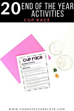 20 End of the Year Activities: Cup Race - Young Teacher Love by Kristine Nannini End Of Year Party, End Of School Year, 5th Grade Classroom, Middle School Classroom, End Of Year Activities, Work Activities, Special Education Teacher, Teacher Blogs, Teaching Plan