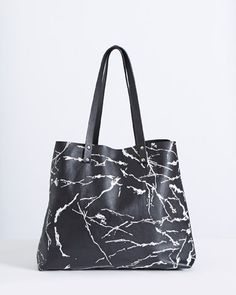 printCarolyn Donnelly The Edit Leather Marble Print Tote