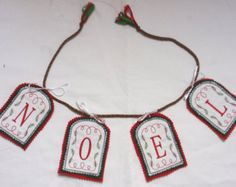 NOEL CHRISTMAS BUNTING Hand made  in felt and cotton -    Edit Listing  - Etsy Christmas Bunting, Christmas Decorations, Cotton, How To Make, Handmade, Etsy, Jewelry, Noel, Hand Made
