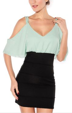 Deep V-neck Short Sleeves Backless dress