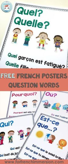 French Question Words: FREE posters Learning how to make questions is key to learning French (and any other language). This post includes FREE French question words posters (printable PDF) French Teaching Resources, Teaching French, Teaching Ideas, French Lessons, Spanish Lessons, French Tips, French Stuff, French Language Learning, Learning Spanish