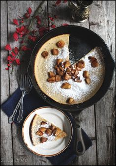 Dutch Baby Pancake with Fried Apples via diethood.com