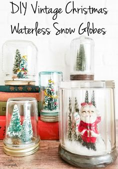 A DIY waterless snow globe is a DELIGHTFUL and easy Christmas craft to make during the holiday season. But here's a little secret- they're even CUTER when you use old glass jars and vintage Christmas decorations! #vintagechristmas #vintagechristmasdecorations #snowglobes #waterless #masonjarcrafts #masonjars #vintagedecor #vintagedecorating #christmascraftsdiy #christmascraftideas #glassjars #miniatures Christmas Crafts To Make, Christmas Craft Projects, Christmas Fun, Holiday Crafts, Primitive Christmas, Vintage Christmas Crafts, Retro Christmas Decorations, Primitive Snowmen, Elegant Christmas