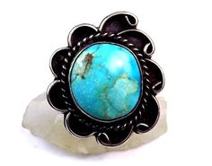 Old Navajo Sterling Silver Native American Beautiful Turquoise Size 10 Ring #Handmade