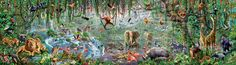 """Educa has taken back the title for""""World's Largest Jigsaw Puzzle Challenge"""" with the brand new 33,600 piece jigsaw puzzle titled Wildlife. The highly detailed and colorful African wildlife work of art was created by artist Adrian Chesterman. From the artist: """"Working on such a large scale and with a subject that I like was a very exciting challenge. I have done drawings of animals almost all my life and I love nature and wildlife. Therefore, drawing a gigantic scene with all these wonders…"""