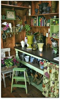 Notice how bright and cheerful the space looks ~ lime green highlights do the trick everytime Clutter Solutions, Shed Storage, Build Your Own Shed, Building, Garden, Shed Plans, Furniture, Home Decor, Bar Cart